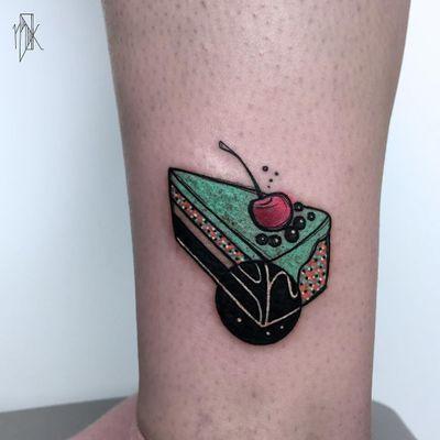 Cake tattoo by Marta Kudu #MartaKudu #foodtattoos #color #abstract #cubist #cake #dessert #cherry #sprinkles #shapes #fruit #sweet #cute #tattoooftheday