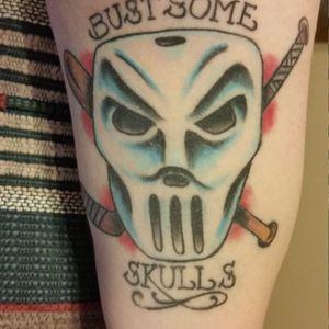 Casey Jones tattoo by Jake Shalhoub. #JakeShalhoub #caseyjones #caseyjonestattoo #TeenageMutantNinjaTurtles #tmnttattoo