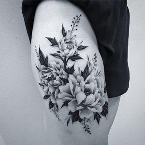 Peonies by Lazer Liz (via IG-lazerliz) #flowers #peonies #negativespace #neotraditional #blackandgrey #bangbangnyc #lazerliz