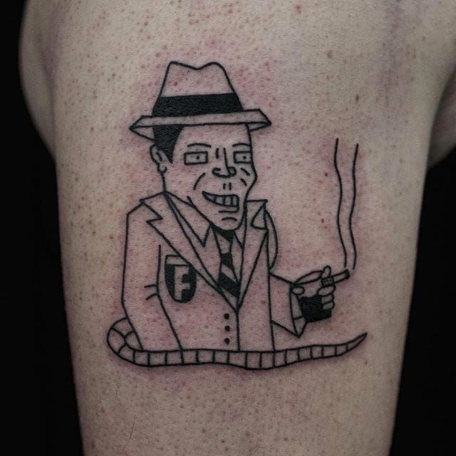 Smoking Mafia Tattoo by Jack Watts @Tattoosforyourenemies #Tattoosforyourenemies #sangbleu #london #black #blackwork #traditional