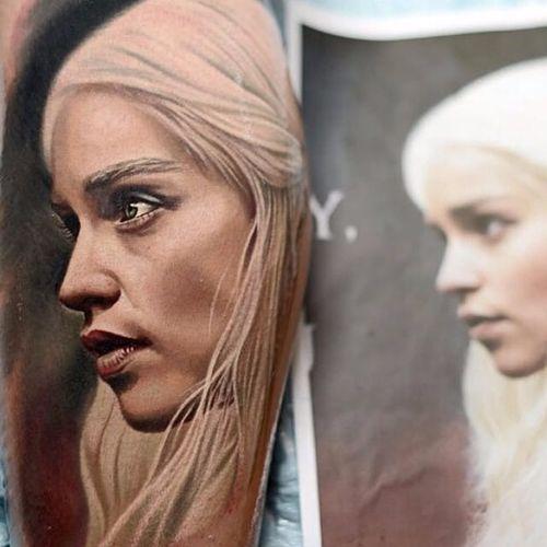 Daenerys Targaryen tattoo by Nikko Hurtado. #daenerys #targaryen #daenerystargaryen #gameofthrones #GOT #khaleesi #hyperrealism