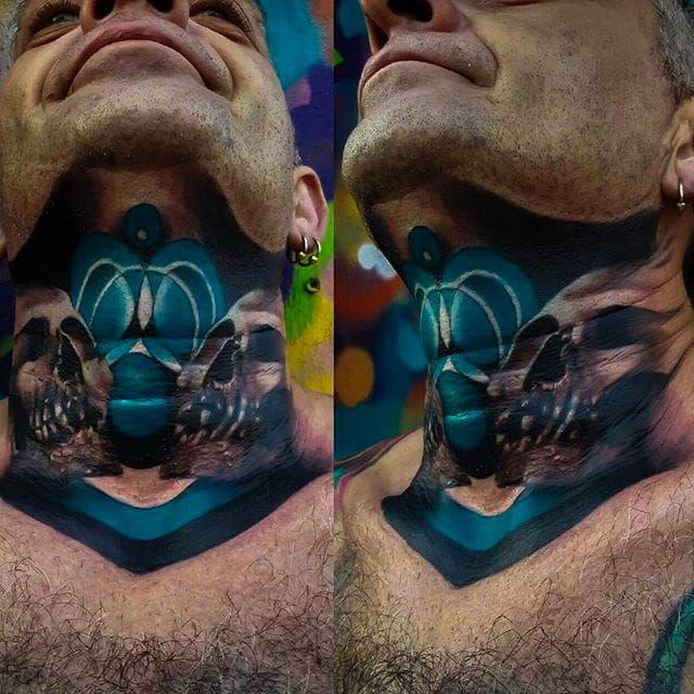 Insane skulls on the neck tattoo by Craig Cardwell. #CraigCardwell #surreal #painterly #skulls #necktattoo