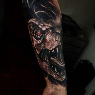 Dinosaur Tattoo by Matias Felipe #dinosaur #darkart #darkink #darkartist #blackwork #blackandgrey #MatiasFelipe