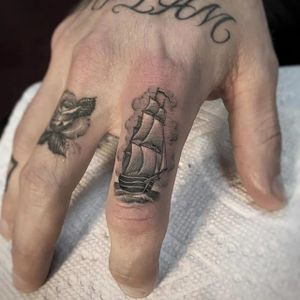 Clipper by Ben Grillo #BenGrillo #blackandgrey #clippership #ship #fineline #realism #tattoooftheday