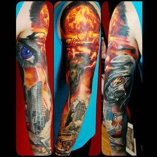 Apocalypse themed sleeve by Justin Buduo. #realism #colorrealism #JustinBuduo #sleeve #apocalypse