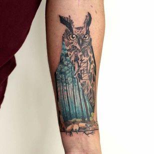 Owl Tattoo by Martynas Šnioka #owl #owltattoo #watercolor #watercolortattoo #abstract #abstracttattoo #graphic #graphictattoo #lithuanian #MartynasSnioka