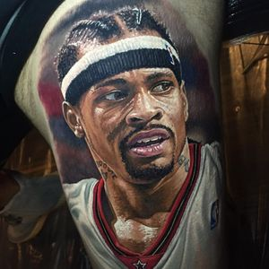 Philly's finest. By Steve Butcher (via IG - stevebutchertattoos) #SteveButcher #Sports #Portraits #AllenIverson #Philadelphia #76ers