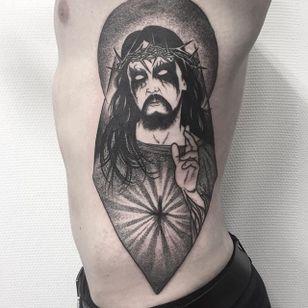 Jesus Tattoo by Johannes Folke #jesus #blackworkjesus #blackwork #blackink #illustrative #JohannesFolke