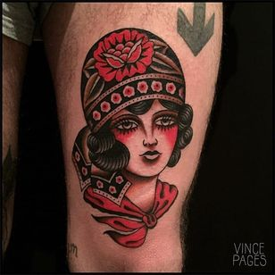 Gypsy Girl Traditional Tattoo by Vince Pages @Vince_Pages #Vincepages #Traditional #Traditionaltattoo #Nuitnoiretattoo #Geneva #Switzerland #Gypsy #Girl