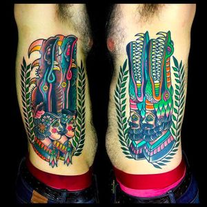 Tattoo by @TeideTattoo #TeideTattoo #SevenDoorsTattoo #Neotraditional #Eccentric #AnimalTattoos