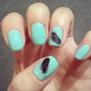 Feather Nail Tattoo Art #Feather #NailTattoo #NailArt #NailTattoos #TattooFashion