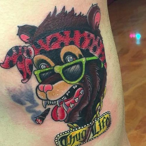 I got into a fistfight with one of my editors over whether or not a bandanna is a hat. By Bobby Badfellow (via IG -- badfellow) #BobbyBadfellow #bear #beartattoo #bearswearinghats #bearswearinghatstattoo