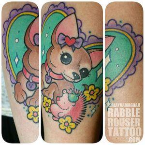 Pastel princess chihuahua tattoo by Alayna Magnan. #chihuahua #dog #pastel #cute #AlaynaMagnan
