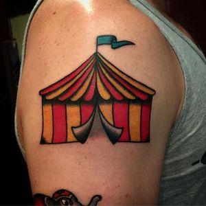 Circus Tent Tattoo by Eric Worx #circustattoo #circustattoos #tenttattoo #tent #circustent #circustenttattoo #traditionaltattoo #traditionalcircustattoo #EricWorx
