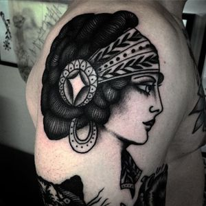 Lady Tattoo by Tony Torvis #blackworklady #traditional #traditionalblackwork #blackwork #blackink #blackworkartist #TonyTorvis
