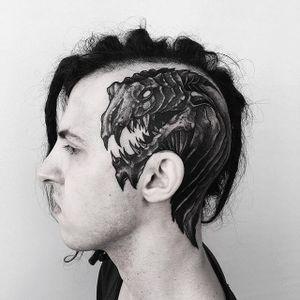 Creature Tattoo by Vladimir Pride #monster #creature #alien #blackwork #blackink #blackworkartist #darkart #blackworkartist #dotwork #dotshading #VladimirPride