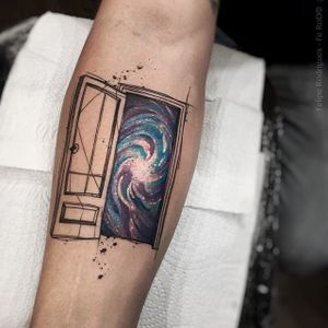 Door to the galaxy tattoo by Felipe Rodriguez. #FelipeRodriguez #door #galaxy #universe #brazil #brazilian #sketch #watercolor