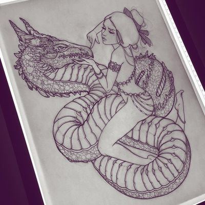 Tattoo flash by Silly Jane #SillyJane #linework #illustration #tattooflash #flash #lady #body #dragon #scales #magic #jewelry #babe #hair #graphic