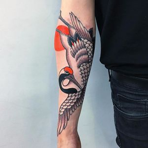 Crane by Caio Piñeiro #CaioPinerio #Japanese #newtraditional #mashup #sun #crane #color #bird #wings #feathers #nature #tattoooftheday