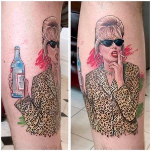 Patsy being Absolutely Fabulous by David Corden #DavidCorden #color #portrait #realism #realistic #tvshow #AbsolutelyFabulous #Patsy #tvshowtattoo #leopardprint #vodka #cigarette #smoking #tattoooftheday