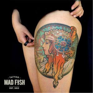 Mucha inspired tattoo by Jaravin #fineartists #Jaravin #mucha #painter #painting #fineart #masterpiece #art #museum