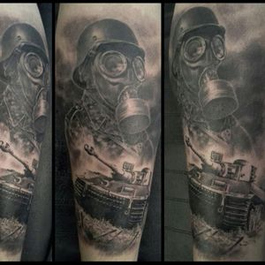 War tattoo by Nicko Metalink #NickoMetalink #blackandgrey #tank #gasmask #soldier
