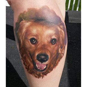 A color portrait of a Golden Retriever so realistic you just want to pet it. Tattoo by Kyle Cotterman. #goldenretriever #dog #realism #color #colorrealism #KyleCotterman