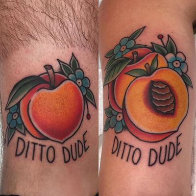 Matching tattoos by Cori James #CoriJames #matchingtattoos #traditional #color #foodtattoo #peach #fruit #flowers #text #quote #font #leaves #nature #tattoooftheday
