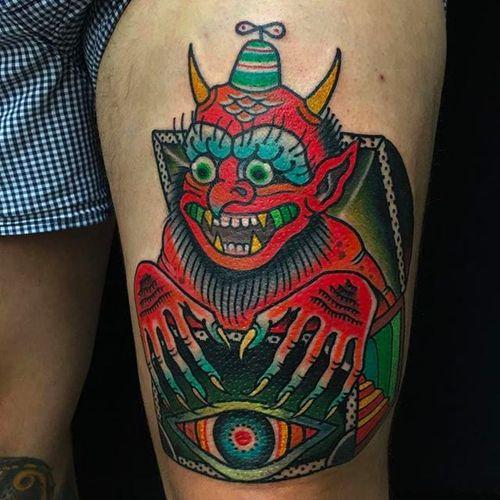 Creepy demon tattoo by Teide Tattoo #TeideTattoo #SevenDoorsTattoo #Neotraditional #Eccentric #AnimalTattoos #Demon #eye