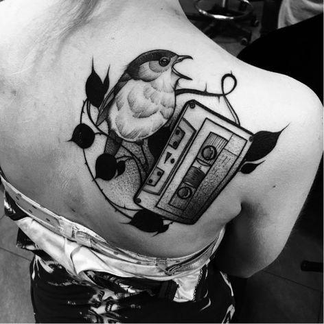Bird tattoo by Julia Szewczykowska #JuliaSzewczykowska #blackwork #neotraditional #bird #tape