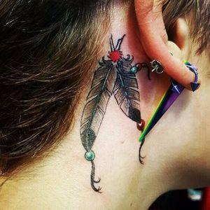 Paris Jackson's new feather tattoo is gorgeous. #parisjackson #celeb #feathertattoos #feather #celebritytattoo #celebrity