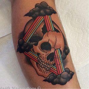 Rainbow tattoo by Heath Nock. #HeathNock #rainbow #lgbt #skull