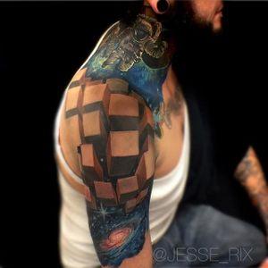 Half sleeve via jesse_rix #JesseRix #spacetattoo #galaxytattoo
