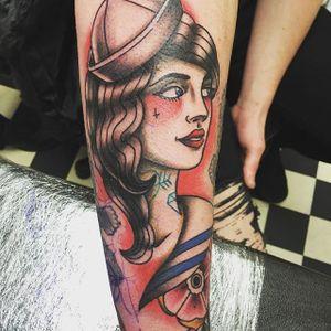Tattooed Sailor Girl Tattoo by Lee Hallam #sailorgirl #sailorgirltattoo #tattooedsailorgirl #tattooedsailorgirltattoo #tattoosintattoos #traditional #nautical #pinup #LeeHallam