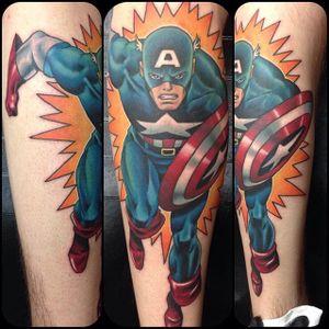 Comics tattoo by Tuan Le. #captainamerica #superhero #marvel #comics #movies