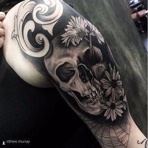 Cool skull tattoo by Matthew Murray #MatthewMurray #blackwork #blackandgrey #monochrome #gothic #skull