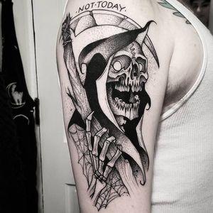 #CuttyBage #gringa #blackwork #sketch #pontilhismo #dotwork #morte #death #ceifeiro #reaper #skull #caveira