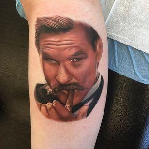 Kurt Russell Tattoo by Chris Hess #wyattearp #kurtrussell #kurtrussellportrait #kurtrussellmovie #movie #film #actor #ChrisHess