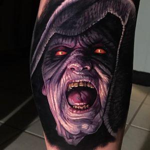 Darth Sidious tattoo by Evan Olin #EvanOlin #darkarttattoos #color #realism #realistic #hyperrealism #portrait #darkside #starwars #movietattoo #movie #emperor #darthsidious #evil #tattoooftheday