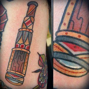 Telescope Tattoo by Zack Taylor #Telescope #TelescopeTattoo #TelescopeTattoos #FunTattoos #ZackTaylor