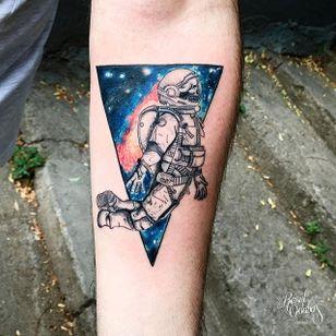 Astronaut galaxy tattoo by Resul Odabaș. #ResulOdabas #galaxy #cosmic #cosmos #astronaut