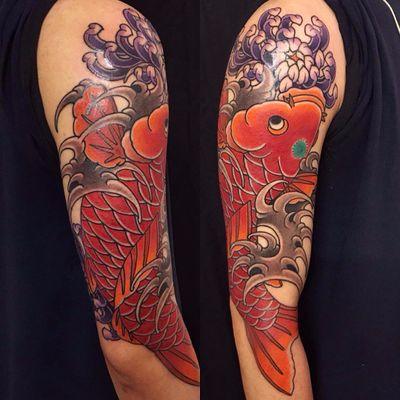 Koi cutie by Damien Rodriguez #DamienRodriguez #Japanese #color #peony #waves #koi #fish #flowers #scales #ocean #tattoooftheday
