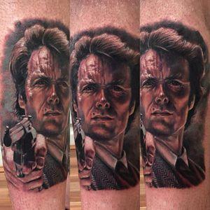 Dirty Harry Tattoo by Kristian Kimonides #DirtyHarry #actionhero #movietattoos #portrait #KristianKimonides