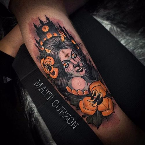 Matt Curzon #MattCurzon #bruxa #witch #witchtattoo #witchcraft #bruxaria #magia #magic #ocultismo #occult #woman #mulher #neotraditional #flor #flower #castle #castelo