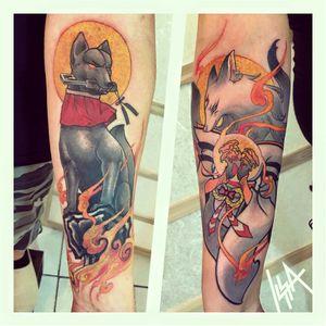 Inari and Kitsune tattoos by Issa #Issa #anime #japanese #manga #japan #inari #kitsune