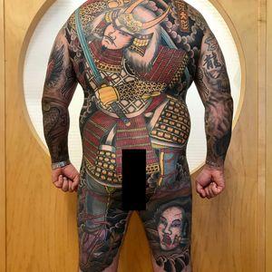 Samurai bodysuit by Ryudaibori #Ryudaibori #Horitaka #Stateofgracetaki #bodysuit #samurai #Japanese #traditional #clouds #sword #armor #death #blood #Kanji #warrior #ghost #severedhead #tattoooftheday