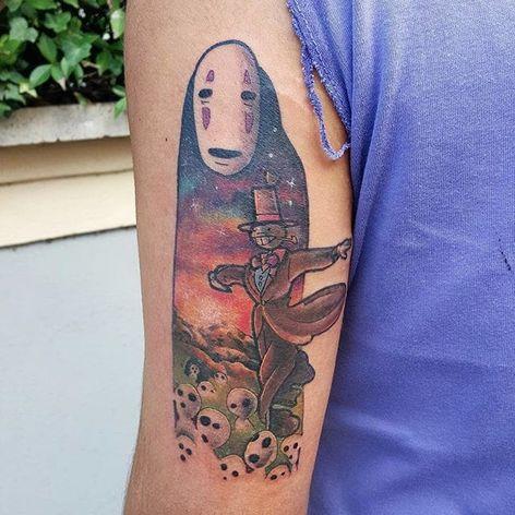 No Face tattoo by Michela Bottin. #MichelaBottin #anime #noface #studioghibli #spiritedaway #ghibli