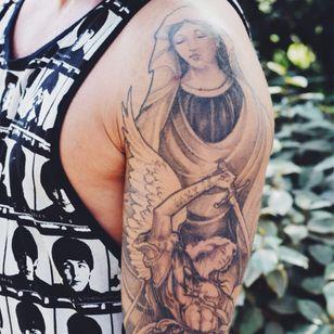 Black and grey Christian tattoo #sleeve #blackandgrey #religious #christian #TattooStreetStyle #StreetStyle