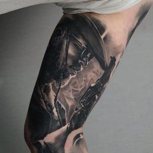 Django Tattoo by Edgar Ivanov #Django #BlackandGrey #BlackandGreyRealism #BlackandGreyTattoos #PortraitTattoos #Realism #EdgarIvanov