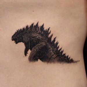 Godzilla tattoo by Eiji. #Godzilla #japanese #monster #movie #blackandgrey